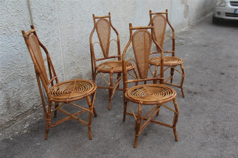 Bonacina Style Chairs Bamboo Italian Design Straw Articulated Design Great Shape For Sale 3