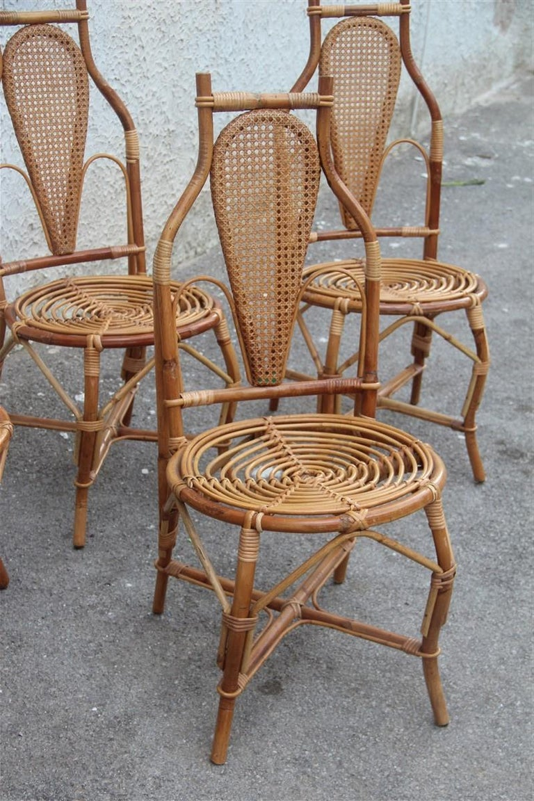 Bonacina Style Chairs Bamboo Italian Design Straw Articulated Design Great Shape For Sale 4