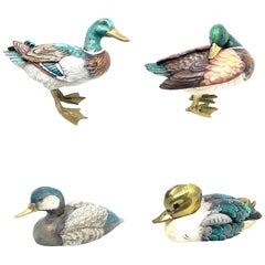 Four Brass Accented Hand Painted Duck Figurine Statues, Italy 1980s Malevolti