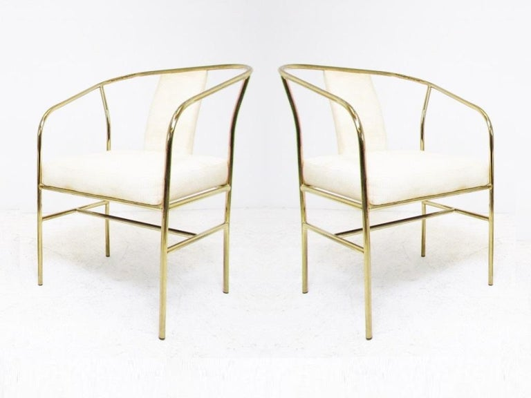 Hollywood Regency Four Brass Armchairs by Milo Baughman for Thayer Coggin For Sale
