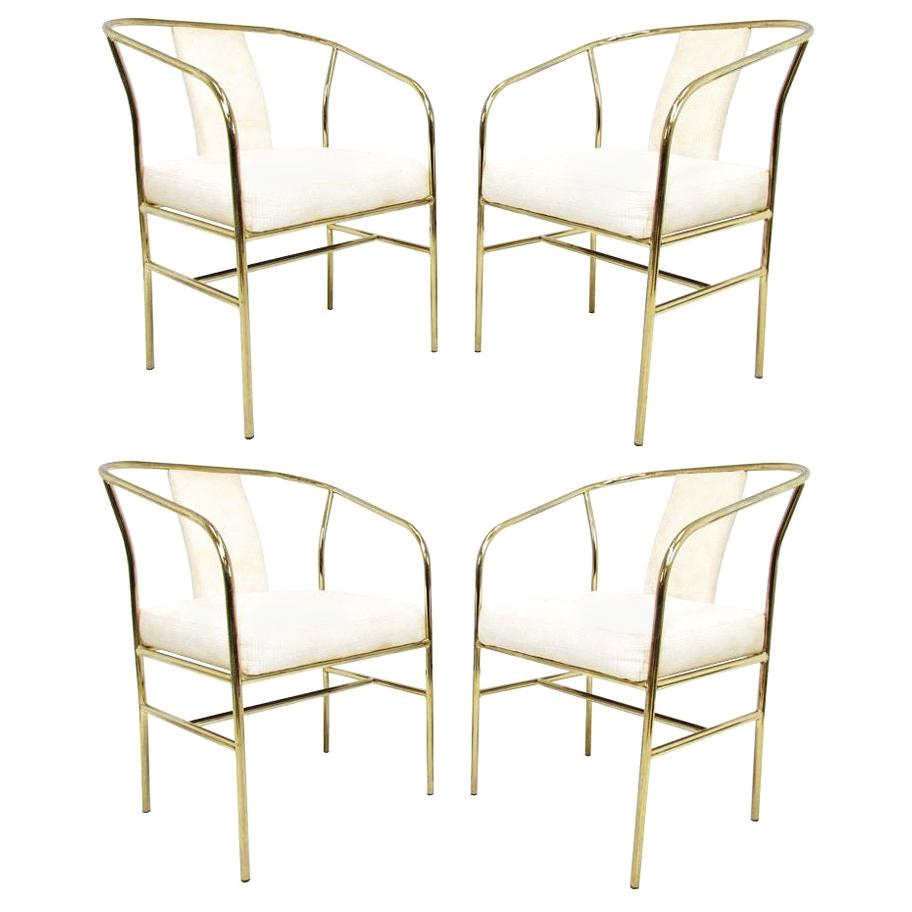 Four Brass Armchairs by Milo Baughman for Thayer Coggin