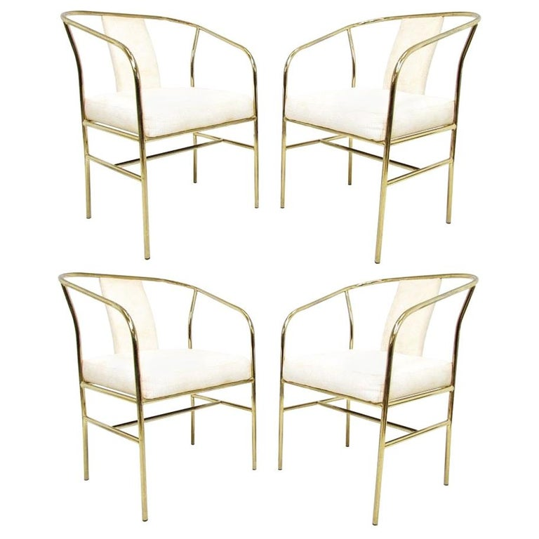 Four Brass Armchairs by Milo Baughman for Thayer Coggin For Sale