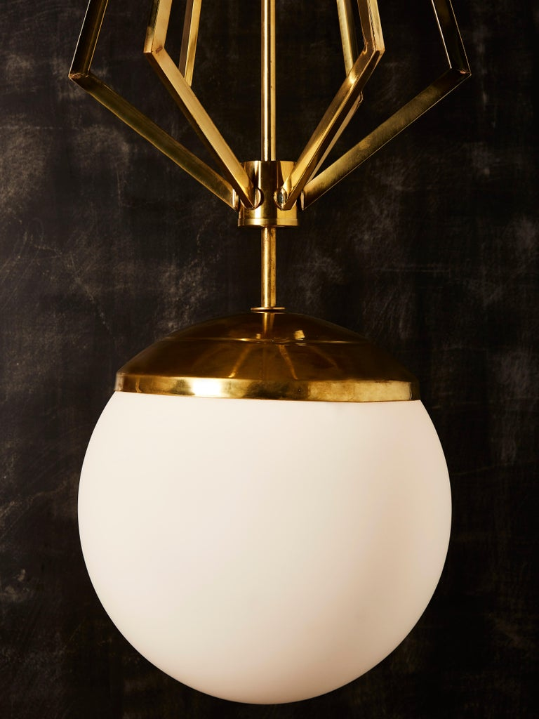 Four Brass Geometrical Suspension with a Large White Glass Globe For Sale 4
