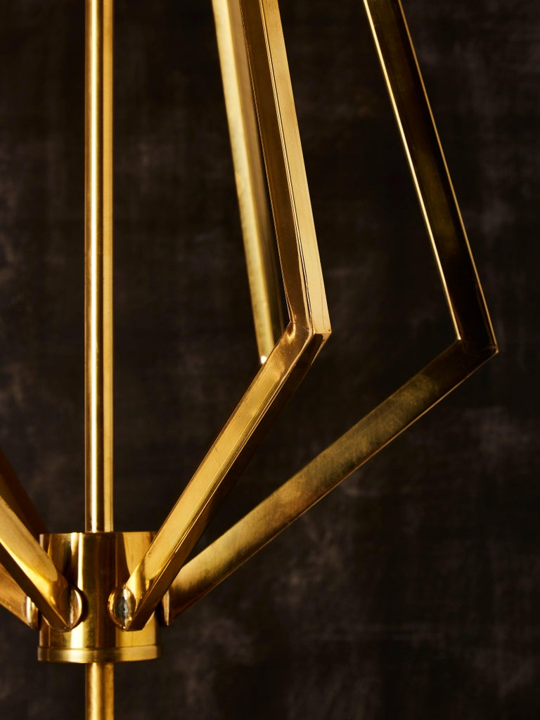 Four Brass Geometrical Suspension with a Large White Glass Globe For Sale 2
