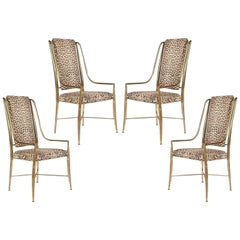 "Four Brass ""Imperial"" Dining Chairs by Weiman/Warren Lloyd for Mastercraft"