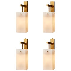 Four Brass Wall Sconces with Rectangular White Glass Shade