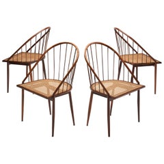 Four Brazilian Midcentury Dining Chairs by Joaquim Tenreiro, 1960s