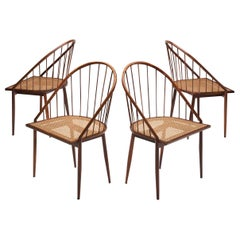Four Brazilian Midcentury Dining Chairs by Joaquim Tenreiro, 1960s