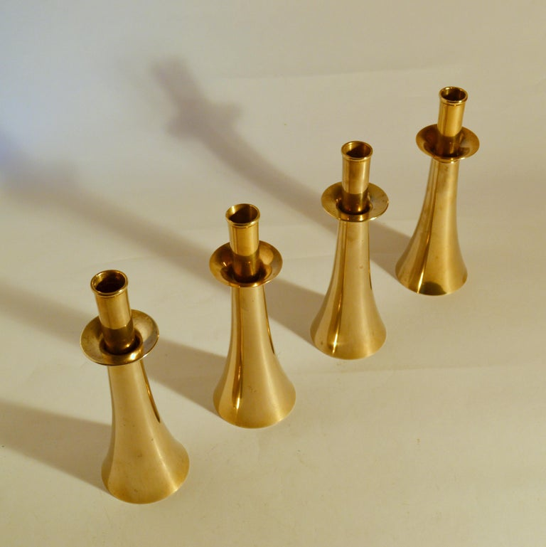Cast Four Bronze 1960's Bell Shaped Candle Holders For Sale
