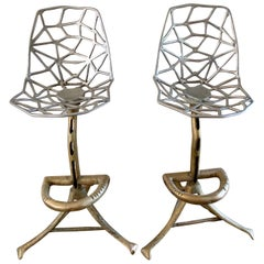 Four Bronze and Aluminum Barstools