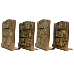 Four Bronze Cast Bookends Depicting Library with Antique Books