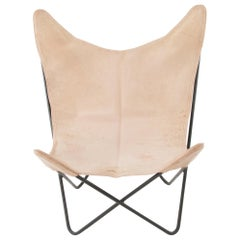 Four Carl Aubock Custom Made Deer Skin Leather Butterly Chairs Fledermaus Sessel
