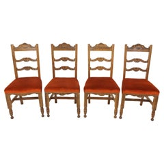 Four Carved Oak Dining Chairs, Upholstered Seats, Scotland, 1920