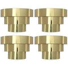 Four Cascade Brass Plated Wall Sconces, 1980s, USA