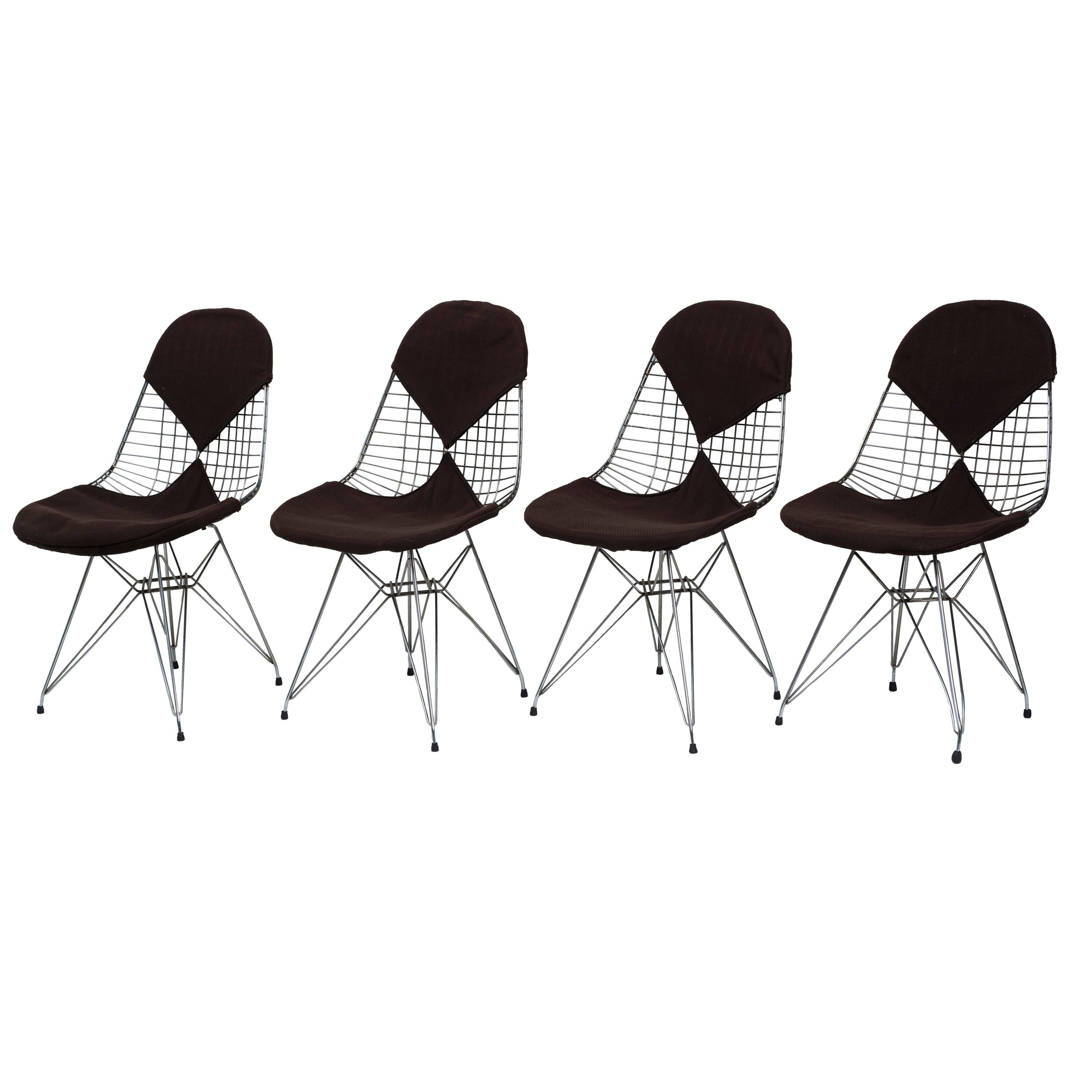 """Four Chairs """"DKR/2 Wire"""" for Herman Miller, 1950s, Charles & Ray Eames"""