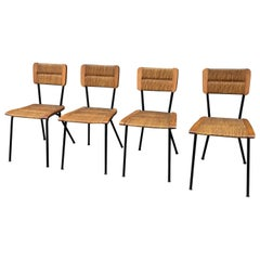Four Chairs Metal and Rattan