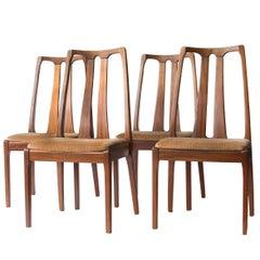 Four Chairs Teak Wood with Original Velvet Upholstered, England, 1980