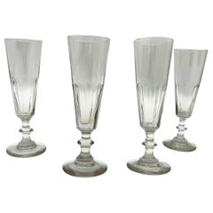Four Champagne Glasses Hand Blown 1860 French