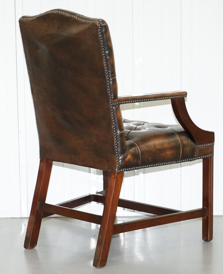 Four Chesterfield Brown Leather Gainsborough Captains Office Dining Armchairs For Sale 3