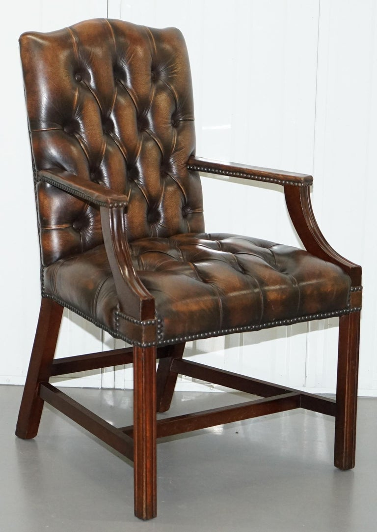 Four Chesterfield Brown Leather Gainsborough Captains Office Dining Armchairs For Sale 5