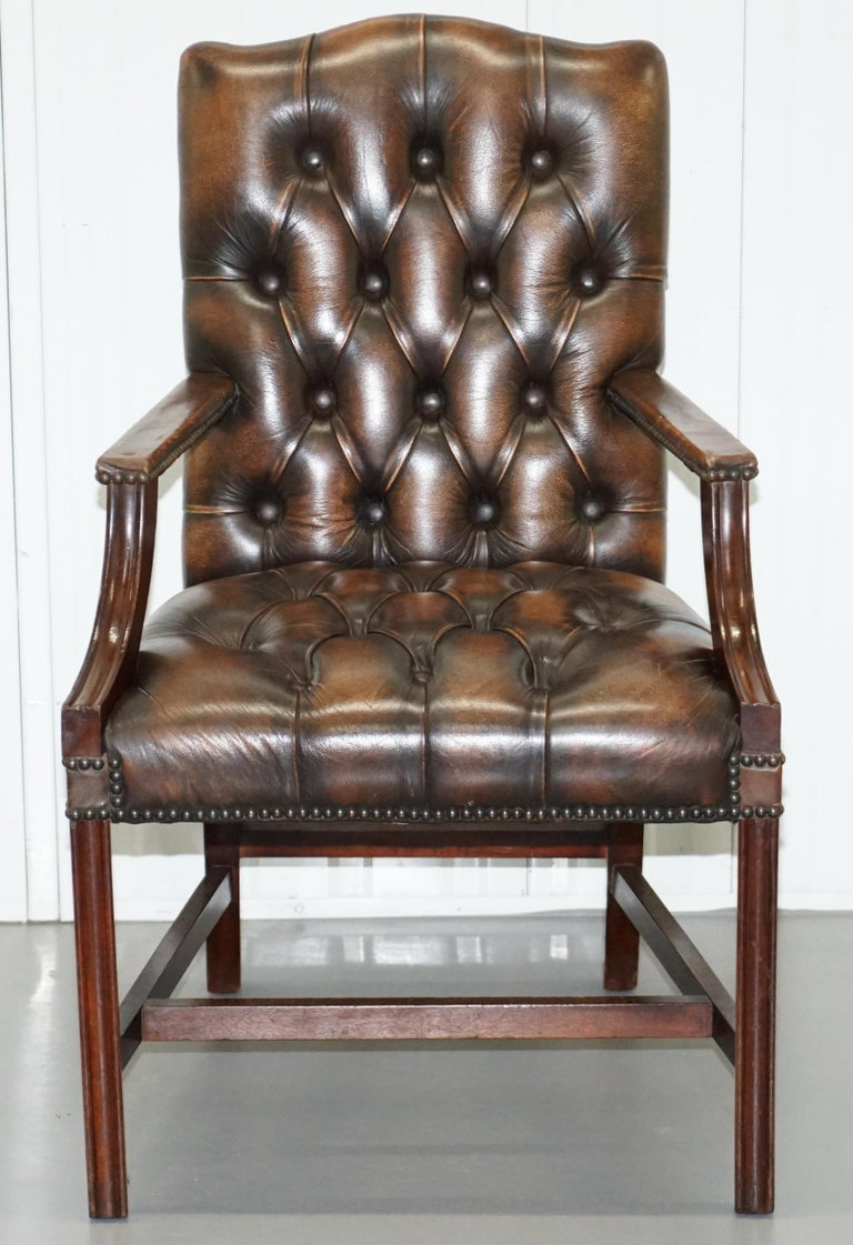 Four Chesterfield Brown Leather Gainsborough Captains Office Dining Armchairs For Sale 6