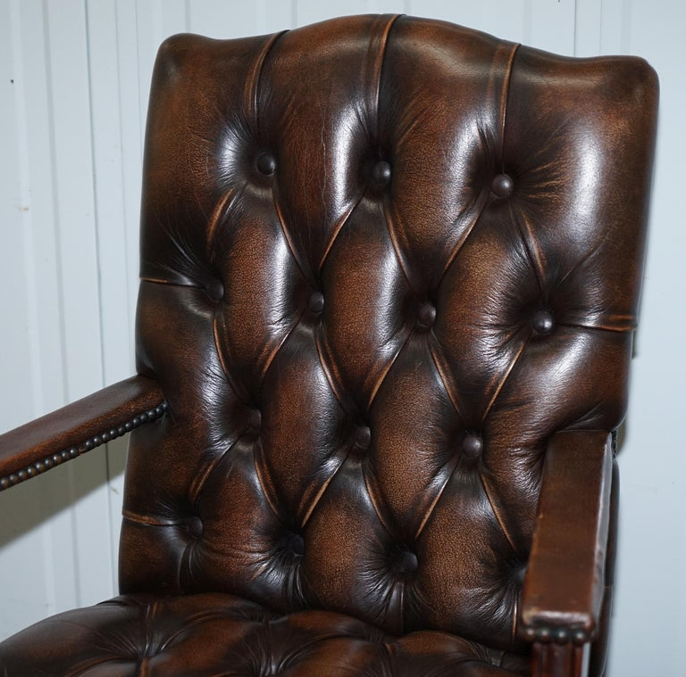 Four Chesterfield Brown Leather Gainsborough Captains Office Dining Armchairs For Sale 7