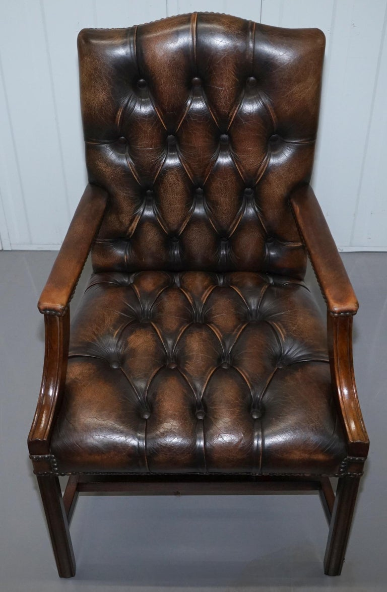 Four Chesterfield Brown Leather Gainsborough Captains Office Dining Armchairs For Sale 11