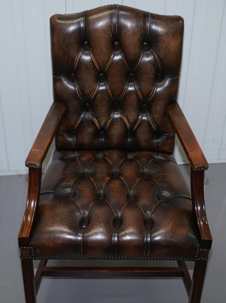 Four Chesterfield Brown Leather Gainsborough Captains Office Dining Armchairs For Sale 13