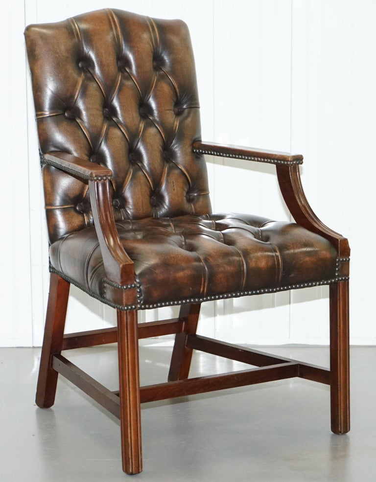 Victorian Four Chesterfield Brown Leather Gainsborough Captains Office Dining Armchairs For Sale