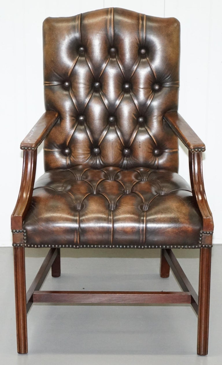 English Four Chesterfield Brown Leather Gainsborough Captains Office Dining Armchairs For Sale