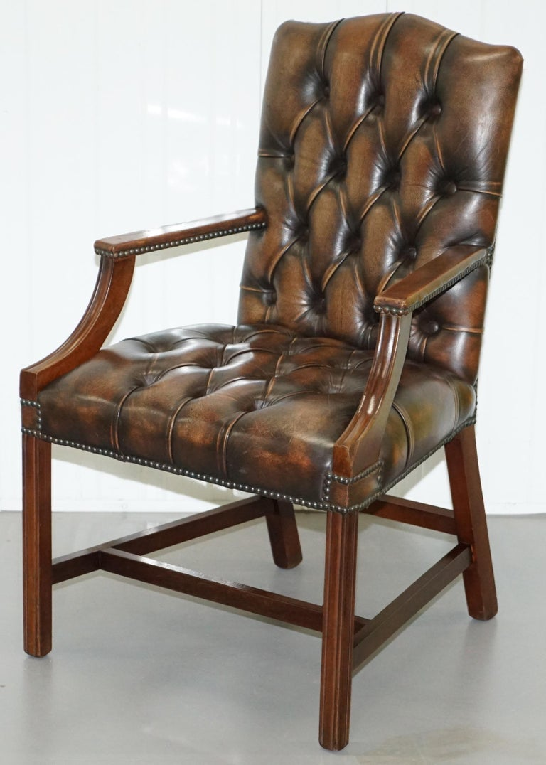 Hand-Crafted Four Chesterfield Brown Leather Gainsborough Captains Office Dining Armchairs For Sale