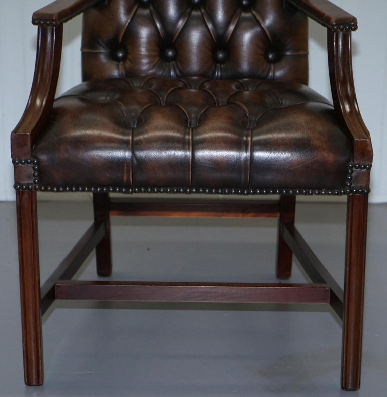 Four Chesterfield Brown Leather Gainsborough Captains Office Dining Armchairs For Sale 2