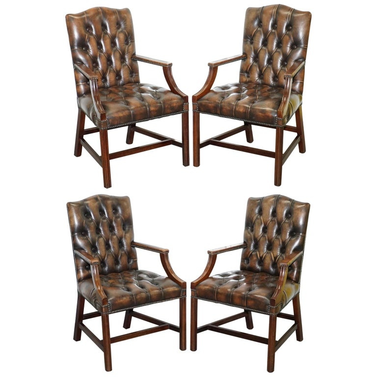 Four Chesterfield Brown Leather Gainsborough Captains Office Dining Armchairs For Sale