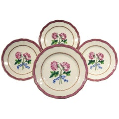 Four Chinese Export Famille Rose Botanical Plates, Qianlong Period (1736-1795)