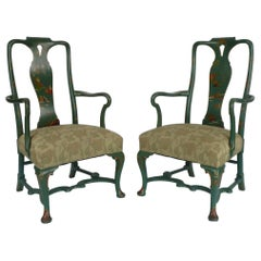 Pair Chinoiserie Painted Queen Anne Style Open Armchairs