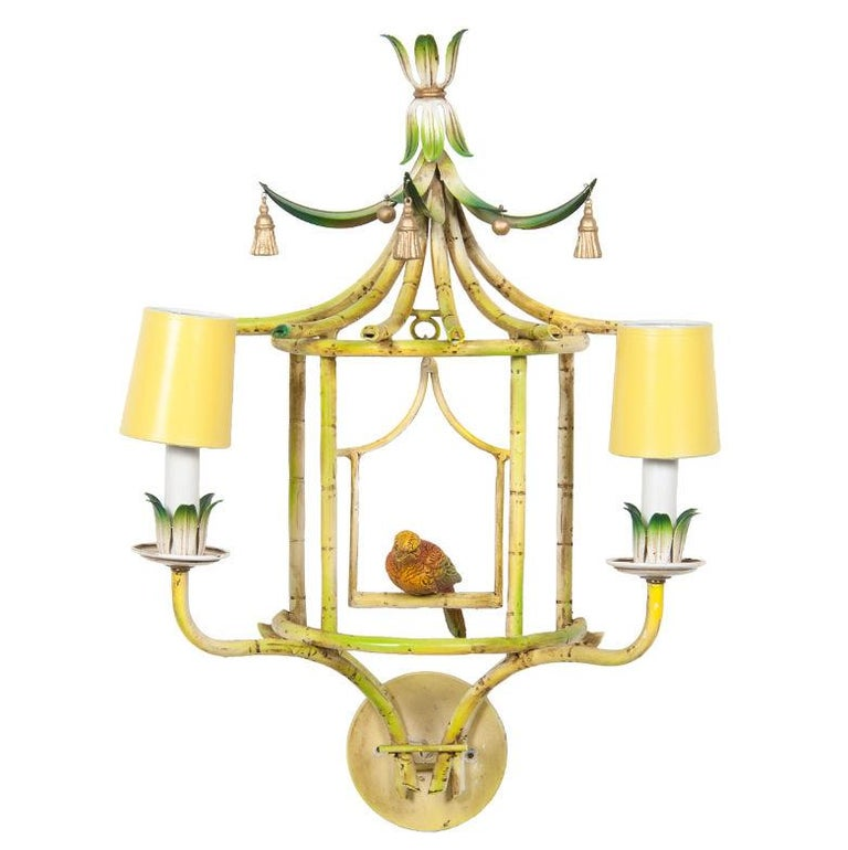 French Four Chinoiserie Painted Tole and Metal Sconces with Birds For Sale