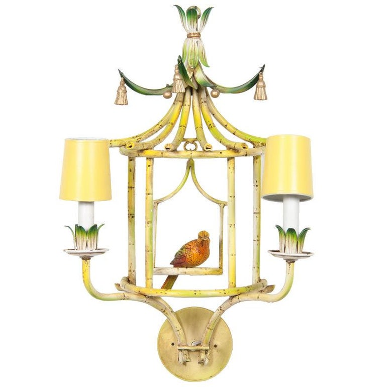 Four Chinoiserie Painted Tole and Metal Sconces with Birds In Good Condition For Sale In New York, NY