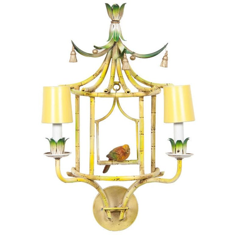 Mid-20th Century Four Chinoiserie Painted Tole and Metal Sconces with Birds For Sale