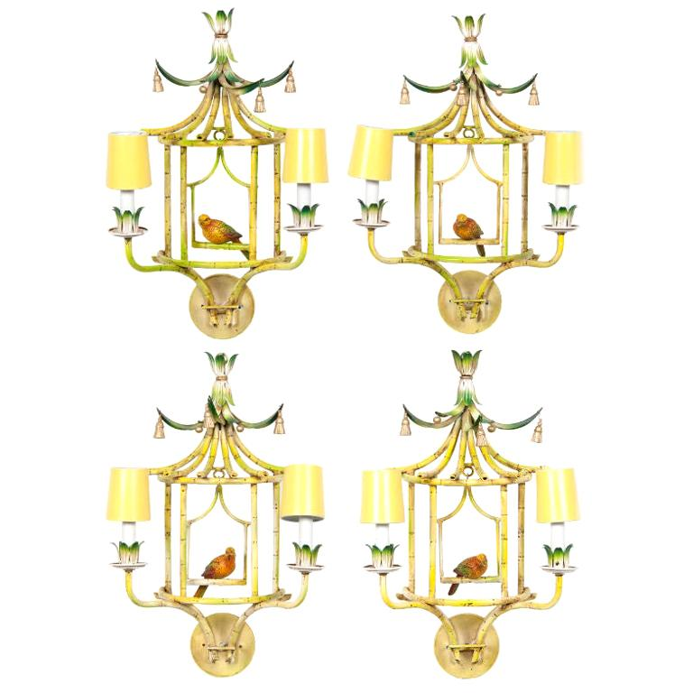 Four Chinoiserie Painted Tole and Metal Sconces with Birds For Sale