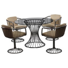 Four Chrome Armchairs and Table with Smoke Glassplate Rinaldi Gastone Italy 1970