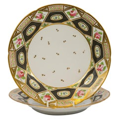Four Church Gresley Dishes with Black Hexagonal Decoration