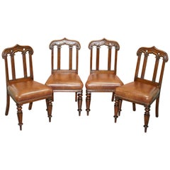 Four circa 1850 T H Filmer & Sons Antique Victorian Brown Leather Dining Chairs