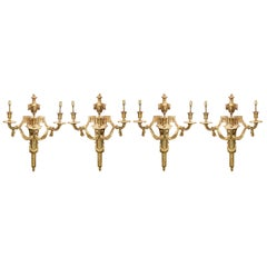 Four Classical French Louis XVI Style Ormolu Wall Lights, Late 19th Century