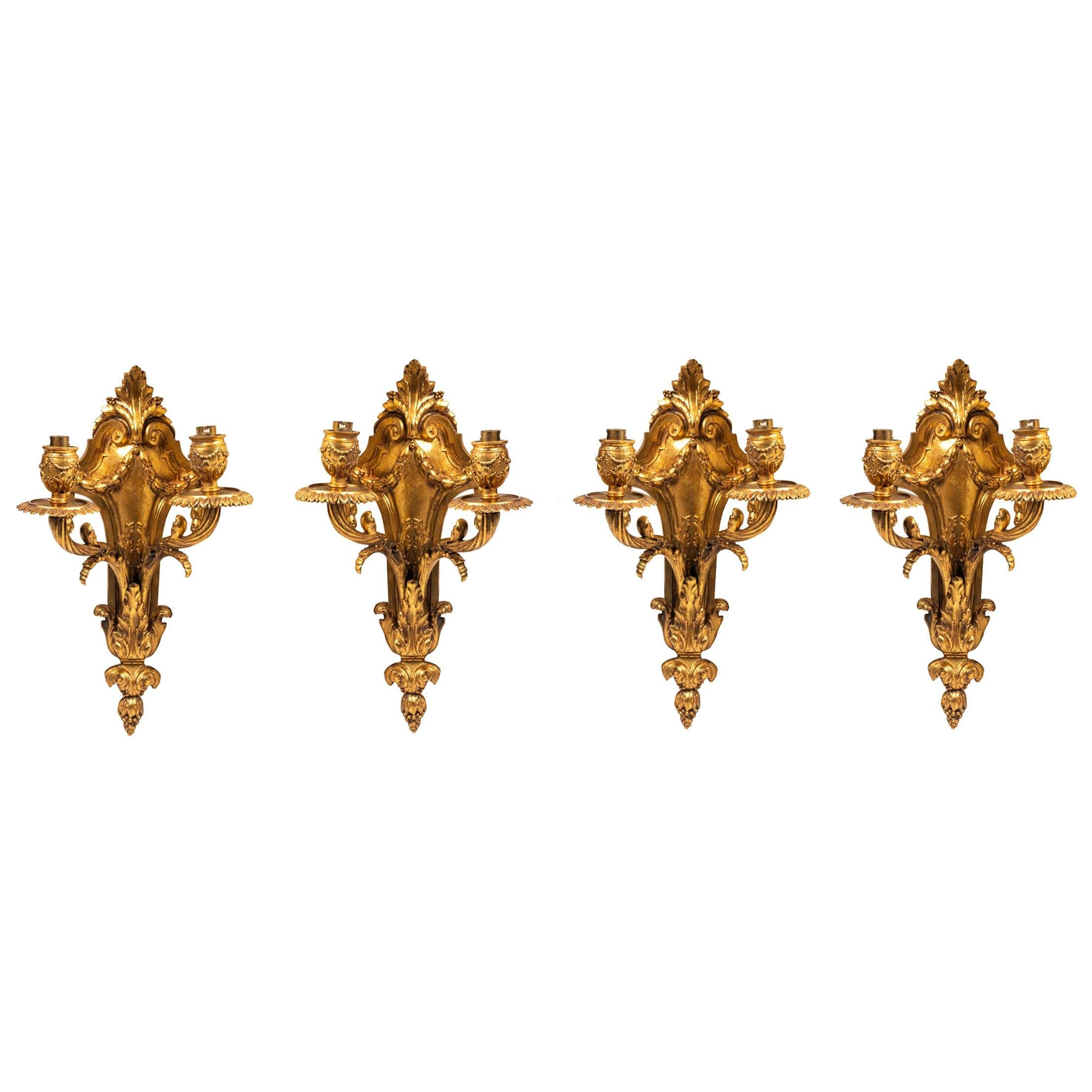 Four Classical Gilded Bronze Wall Lights, 19th Century