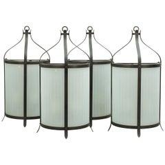 Four Classical Half Round Metal Wall Lanterns