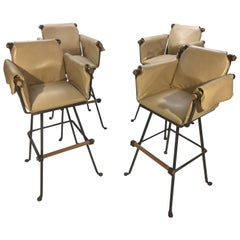 Four Cleo Baldon for Terra Furniture High Stools Having Wrapped Leather Seats