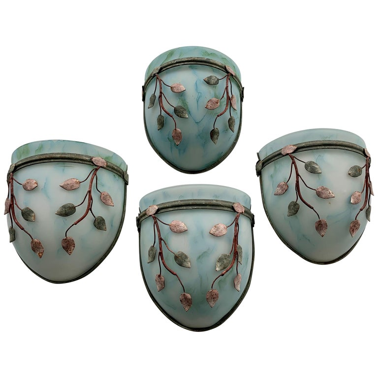 Four Colored Glass Sconces with Leaf-Form Metal Decoration For Sale
