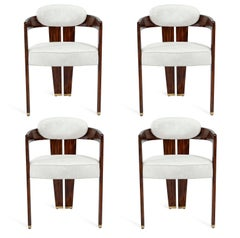 Four Contemporary Dining Chair, Glossy Walnut / Distressed Cream