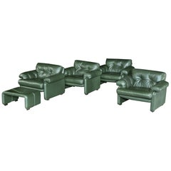 Four, Coronado, Armchair Green Leather Afra & Tobia Scarpa B&B Italia circa 1960
