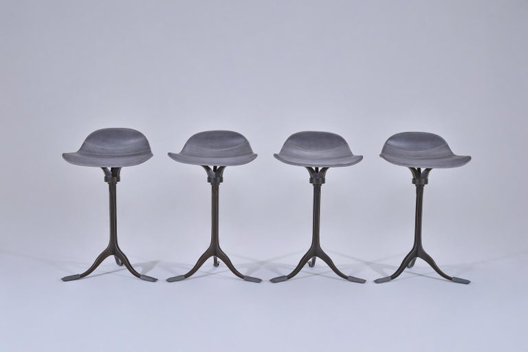 Hand-Crafted Four Counter-Height Swivel Stools, Pigeon Leather, Brown Brass by P. Tendercool For Sale